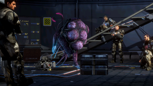 """Loading screen image for Halo 3: ODST'""""`UNIQ--nowiki-00000000-QINU`""""'s Epilogue in Halo: The Master Chief Collection as of Season 6: Raven, depicting Alpha-Nine members Edward Buck, Kojo Agu, Taylor Miles and Michael Crespo watching Huragok Quick to Adjust on the Quito Space Tether."""