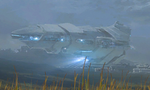 A cropped image of the colony ship from the epilogue of Halo: Reach.