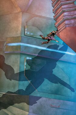 Issue 3 Cover art for Halo: Blood Line. A Spartan grabbing a Forerunner ledge holding a Covenant Carbine. Their shadow is case on the walls behind them.