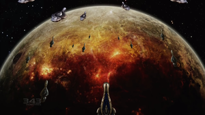 The human colony Kholo being completely devastated by the Fleet of Righteous Vigilance before being ultimately glassed.