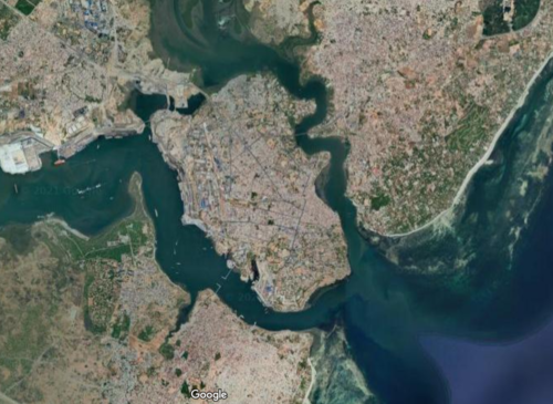 Google Earth image of Mombasa for Mombasa Mapping project.