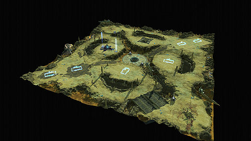 This is an overhead view of Crevice from the Halo Wars community site.