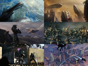 A multimedia collage of the Battle for Earth. Images used starting from top left going clockwise: :File:H2A - BattleofEarth.png, :File:Orphic Spear 1.png, :File:Time to Believe.jpg, :File:Cleveland in 2552.PNG (edited to remove text), :File:Battle of Sector Six 09.png, :File:Voi 7.jpg.