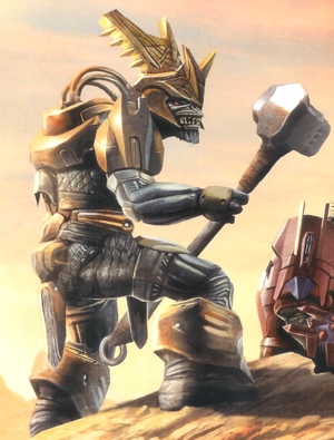Maccabeus wielding the Fist of Rukt on Harvest, as depicted in Halo Mythos.