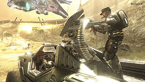Sergeant Johnson firing a Warthog's turret at Covenant forces in Halo 3: ODST's Firefight mode.