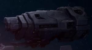 "A Halcyon-class light cruiser as shown in Halo 2: Anniversary'""`UNIQ--nowiki-00000000-QINU`""'s Terminal 1."
