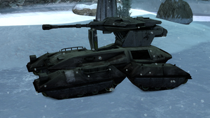 M808B Scorpion 030569 deployed in an icy ravine on Installation 04. From Halo: Combat Evolved Anniversary campaign level Assault on the Control Room.