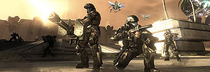 ODSTs fighting against a wave of Covenant in Halo 3: ODST's Firefight mode.