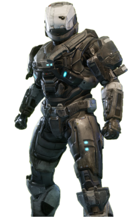 GUNGNIR-class Mjolnir from Halo: Reach armor permutation in Halo: The Master Chief Collection menu.