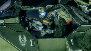 Spartan-IV R. D. Verrat from Fireteam Forest driving a M12 Chaingun Warthog in Apex during Requiem Campaign, as seen in Halo 4 Spartan Ops Episode 10 Exodus Chapter 3 Seize the Power.