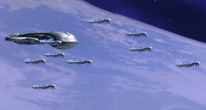 A portion of the Fleet of Retribution shortly after exiting slipspace over Installation 00