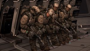 UNSC Army unit Golf 27 onboard a D77-TC Pelican during the Siege of New Alexandria, as seen on Halo: Reach campaign level New Alexandria.