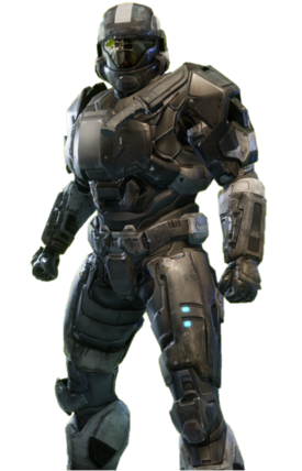 B-class Mjolnir with ODST helmet, chest piece, and shoulders from Halo: Reach armor permutation in Halo: The Master Chief Collection menu.