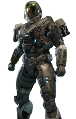 EVA-class Mjolnir from Halo: Reach armor permutation in Halo: The Master Chief Collection menu.