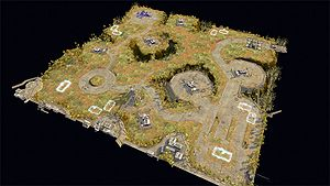 This is a 3D overhead view of Beasley's Plateau from the Halo Wars website.