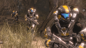 Spartan-IVs (including Terry Hedge) from Fireteam Lancer in Warrens during Requiem Campaign, as seen in Halo 4 Spartan Ops Episode 7 Expendable Chapter 3 Lancer.