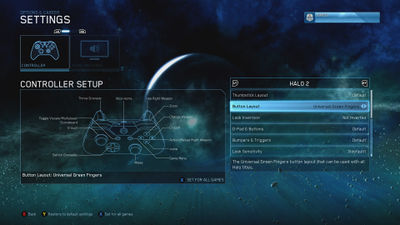 """Xbox controller layout """"Universal Green Fingers"""", for Halo: The Master Chief Collection."""