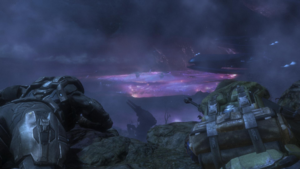 SPARTAN-B312 and Jun-A266 observe a Covenant staging area in the Viery Territory.
