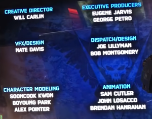 Screencap of a portion of the credits from Fireteam Raven, from a youtube video.