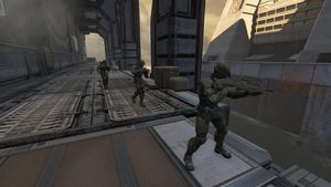 Members of A Company of UNSC Marine Corps in Halo 2: Anniversary campaign level Metropolis.