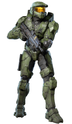 John-117 wielding an MA40 assault rifle in Halo Infinite. Image from Canon Fodder #117. Slightly cropped so that John-117 is centered in the image (looks nicer).
