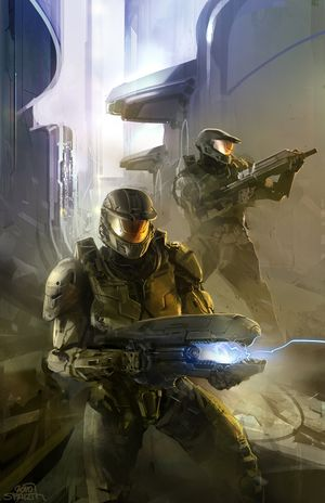 The artwork featured on the 2010 reissue of Halo: First Strike