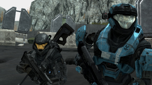 Kat-B320 and SPARTAN-B312 of NOBLE Team at SWORD Base, as seen in Halo: Reach level ONI: Sword Base.