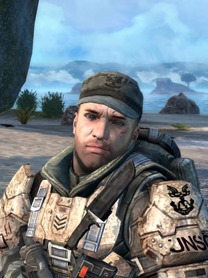 Sergeant Waller (using Marcus Stacker's model) in Halo: Combat Evolved Anniversary