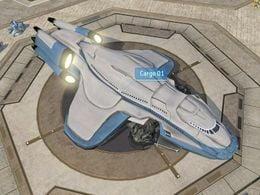 Unidentified civilian cargo ship designated Cargo 1 in Pirth City, Arcadia, as shown in Halo Wars level Arcadia City.