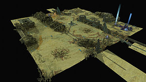 A 3D overhead of the Halo Wars map, Barremns.