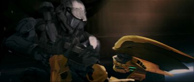 Jai-006 and Thel 'Vadamee battle from Halo 2 Anniversary.
