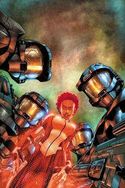 Issue 1 Cover art for Halo: Blood Line. Four Spartans surrounding a hologram of an AI.