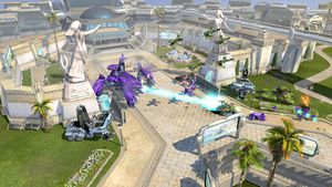 Image of a Scarab in Pirth City in Halo Wars. Image taken from https://www.cnet.com/pictures/screenshots-halo-wars-readies-for-battle/14/