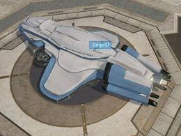 Unidentified civilian cargo ship designated Cargo 3 in Pirth City, Arcadia, as shown in Halo Wars level Arcadia City.
