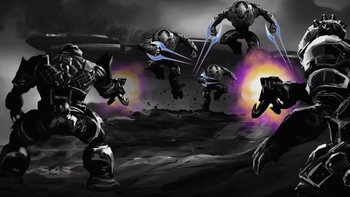 Sangheili charging with energy swords fight against the Jiralhanae armed with spikers as a Jiralhanae-controlled battlecruiser is crashing on an unknown planet during the Sangheili-Jiralhanae war.