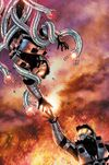 Issue 2 Cover art for Halo: Blood Line. A Spartan being grabbed by Forerunner tentacles while another tries to grab their hand.