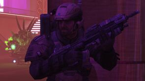 UNSC Army trooper 4 Charlie 27 in Club Errera, as seen in Halo: Reach level New Alexandria.