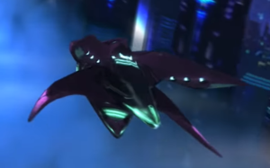 This is a close up of the Covenant Craft in Terminal 6 of Halo 2: Anniversary.