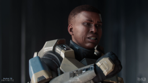 Spartan Commander Laurette saying a speech to her Spartan-IV recruits.