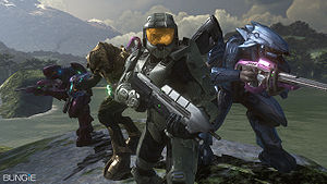 The four playable characters in Halo 3's cooperative mode, from left to right: Usze 'Taham, Thel 'Vadam, John-117 and N'tho 'Sraom.