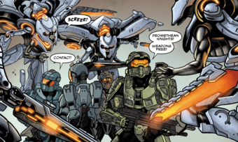 Blue Team attacked by Promethean Knights from Halo: Escalation.