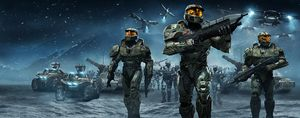 A wide version of the Halo Wars cover art.