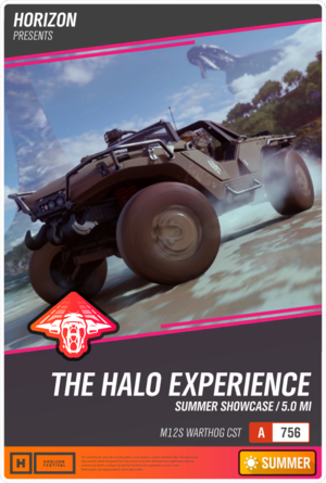 The event flyer for The Halo Experience Showcase in Forza Horizon 4.