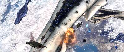 D77H-TCI Pelicans descend from the UNSC Forward Unto Dawn as a large space battle over Installation 00 rages