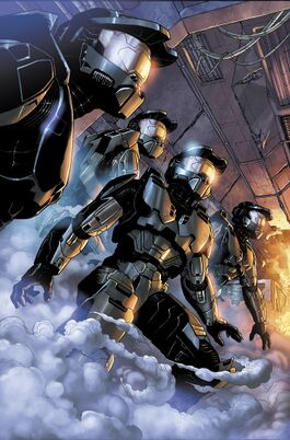 Halo: Blood Line image of 4 Spartans standing in a burning ship