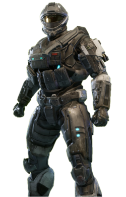 RECON-class Mjolnir from Halo: Reach armor permutation in Halo: The Master Chief Collection menu.