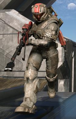 A CQB-clad Spartan-IV with an SRS99-S7 AM sniper rifle.