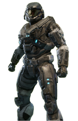 B-class Mjolnir from Halo: Reach armor permutation in Halo: The Master Chief Collection menu.