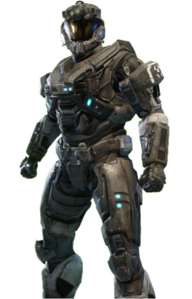 OPERATOR-class Mjolnir from Halo: Reach armor permutation in Halo: The Master Chief Collection menu.