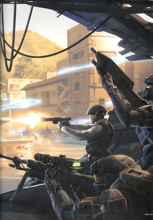 Halo Mythos illustration of Veta Lopis, Frederic-104 and Mark-G313 fighting on Gao. The sniper is confirmed as Mark in this tweet by Jeff Easterling.